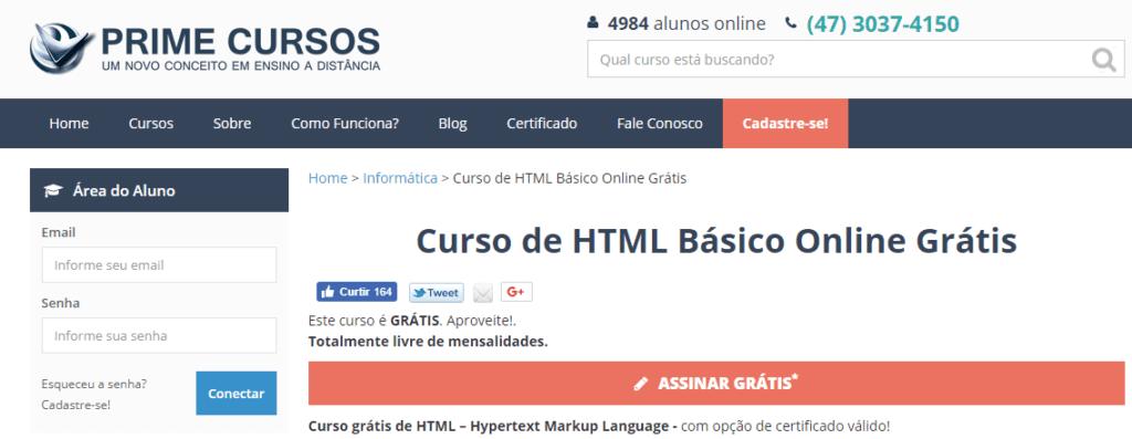 cursos grátis de html e css