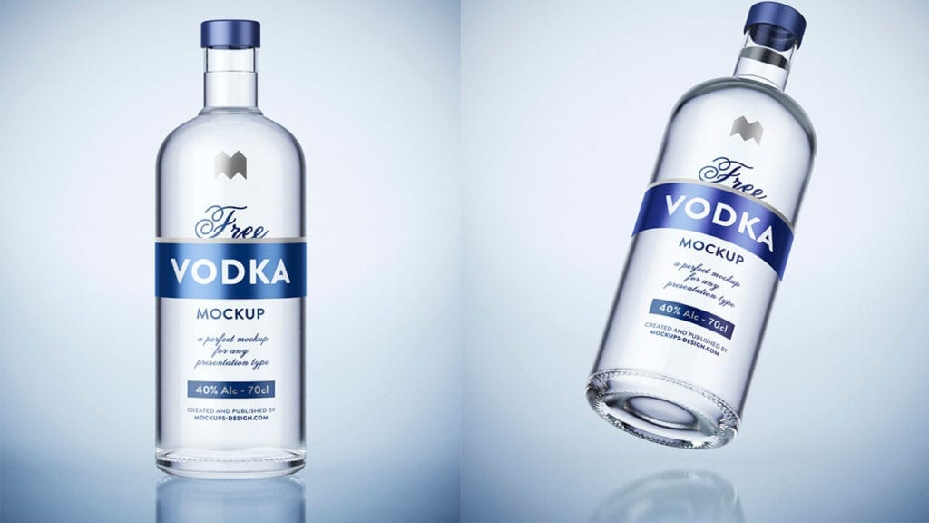 mockup garrafa vodka