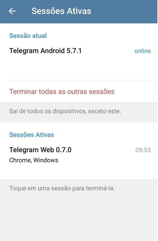conta telegram
