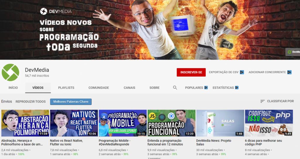9 canais no youtube sobre programacao devmedia