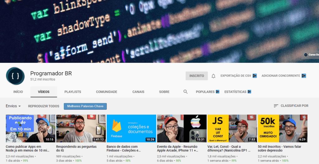 9 canais no youtube sobre programacao programador br igor oliveira