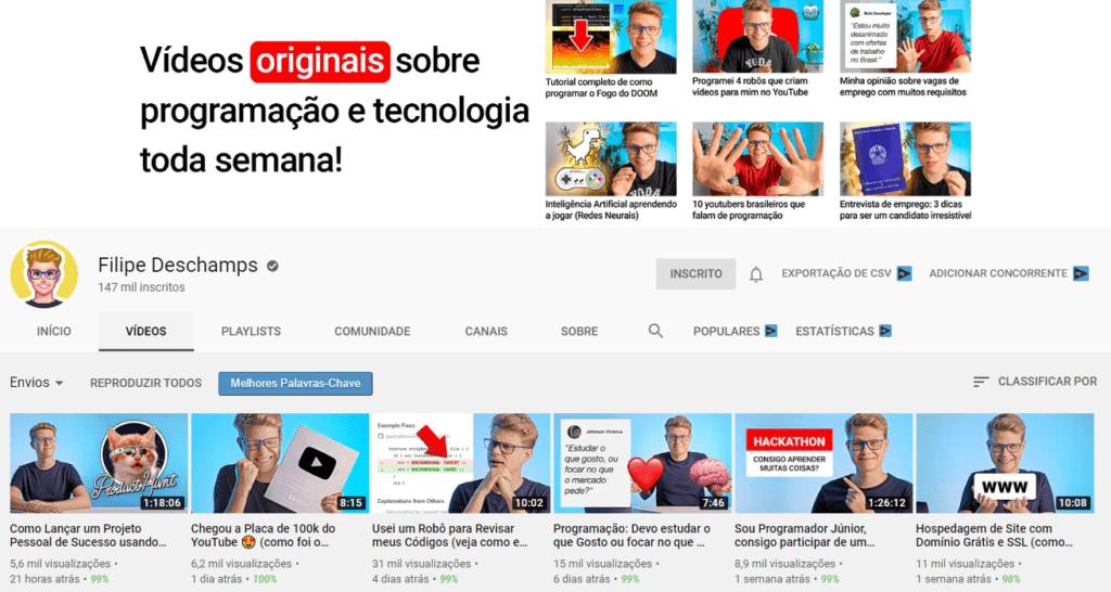 9 canais no youtube sobre progrcamao filipe deschamps