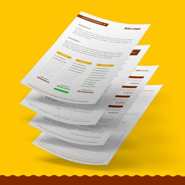 pacote de ferramentas do café com modelos de contratos, briefing, social media designer e orçamentos
