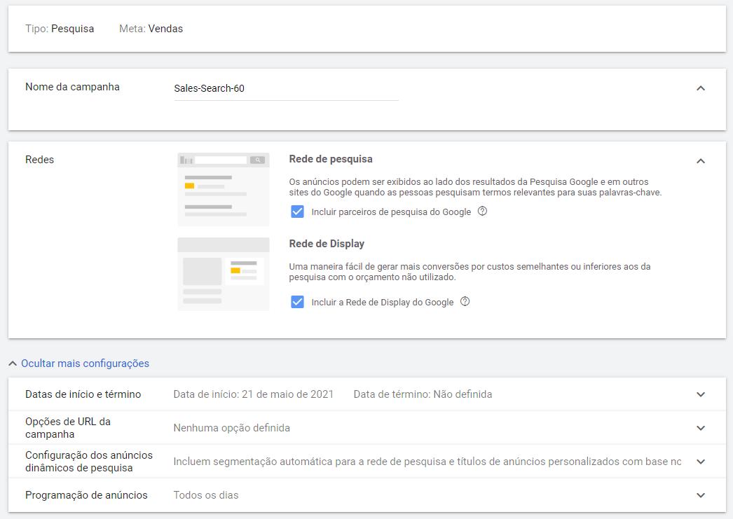 configurando uma campanha de anuncio no google ads