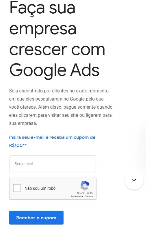 pegar cupom de desconto do google ads de 100 reais
