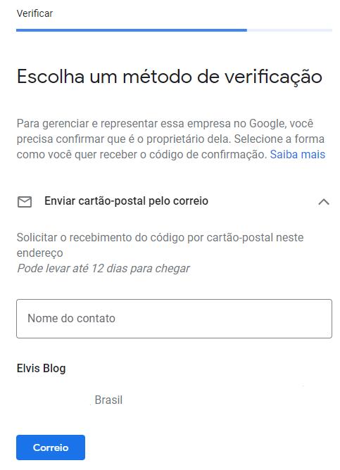 metodo de verificação do google meu negocio