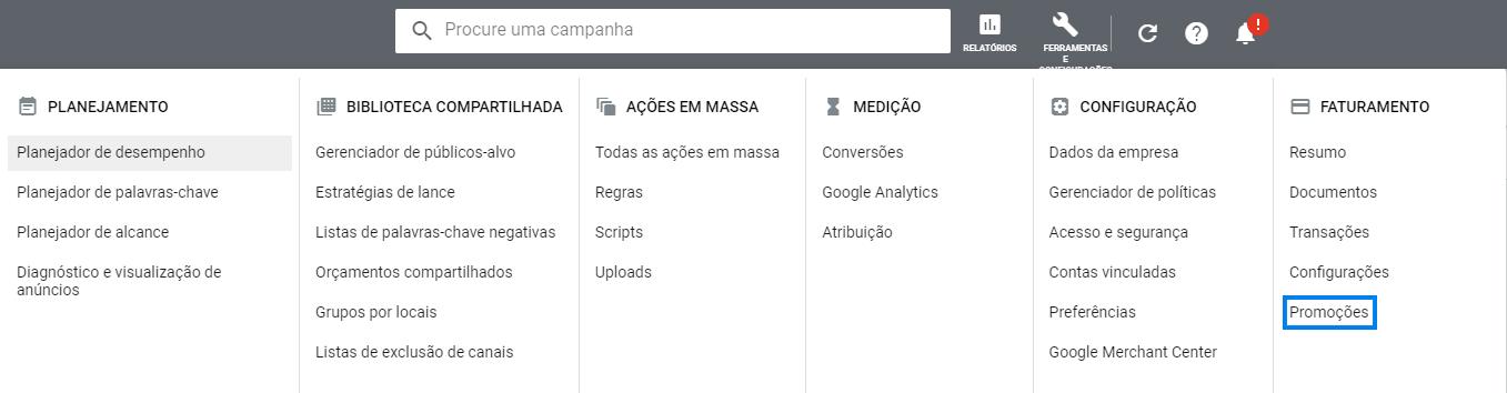 colocando cupom de 100 reais do google ads