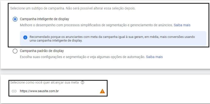 subtipo e o site na rede de display do google